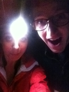 Braving the cold with headlight and jackets.